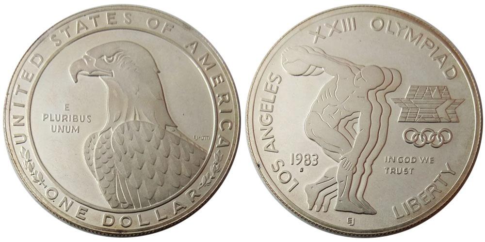 1 доллар 1983 S США — XXIII летние Олимпийские Игры — Дискобол — серебро