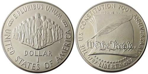 1 доллар 1987 P США — 200 лет Конституции США — серебро