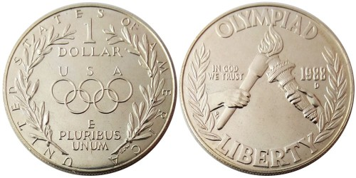 1 доллар 1988 D США — XXIV летние Олимпийские Игры — Сеул 1988 — серебро