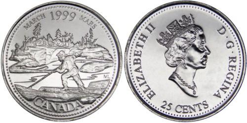 25 центов 1999 Канада — Миллениум — Март 1999, Сплав на плоту