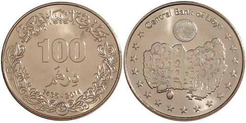 100 дирхам 2014 Ливия UNC