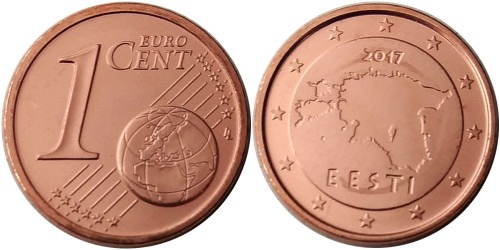 1 евроцент 2017 Эстония UNC