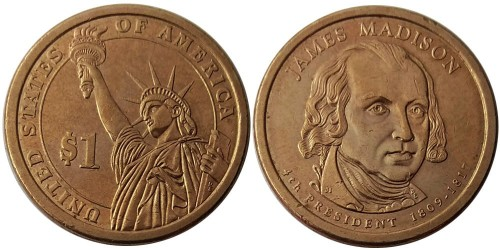 1 доллар 2007 P США UNC — Президент США — Джеймс Мэдисон (1809-1817) №4 уценка