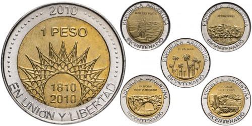1 песо 2010 Аргентина — набор из 5-ти монет — 200 лет Аргентине UNC