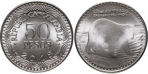 50 песо 2016 Колумбия UNC — новый образец