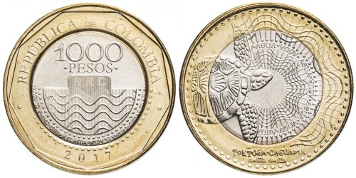 1000 песо 2017 Колумбия — Черепаха UNC