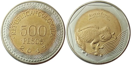 500 песо 2017 Колумбия — Лягушка UNC