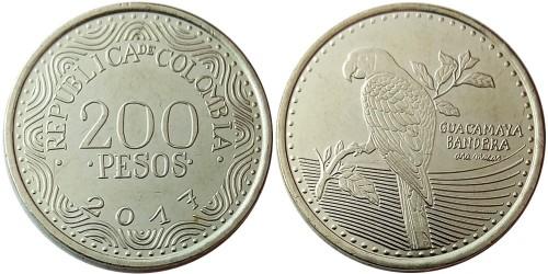 200 песо 2017 Колумбия — Красный ара UNC