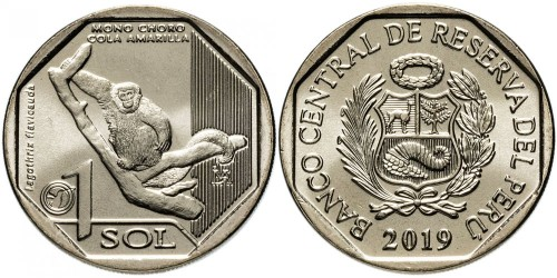 1 соль 2019 Перу — Фауна Перу — Желтохвостая обезьяна UNC