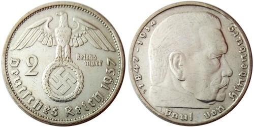 2 рейхсмарки 1937 «F» Германия — серебро №3