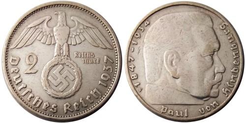 2 рейхсмарки 1937 «F» Германия — серебро №4