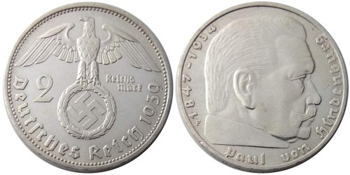 2 рейхсмарки 1939 «F» Германия — серебро №1