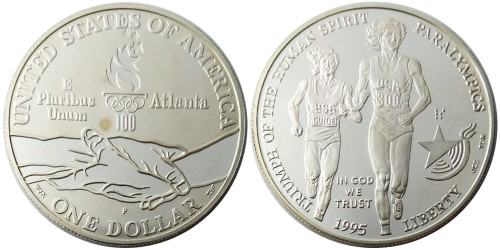 1 доллар 1995 P США — X летние Паралимпийские Игры, Атланта 1996 — Бег — серебро
