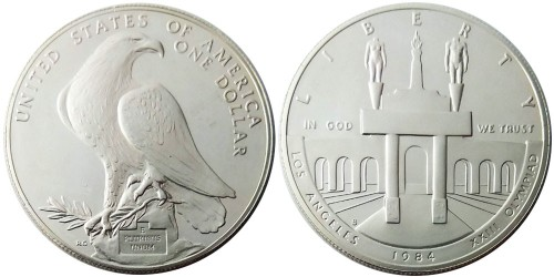 1 доллар 1984 S США — XXIII летние Олимпийские Игры — Лос-Анджелес 1984 — серебро