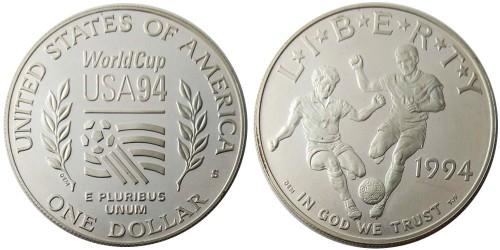 1 доллар 1994 S США — Чемпионат мира по футболу 1994 — серебро