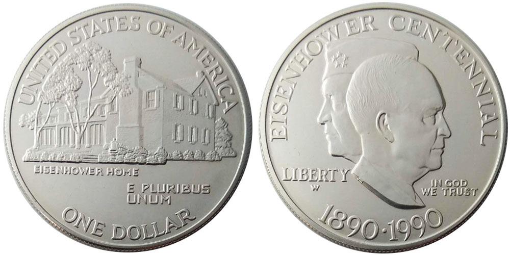 1 доллар 1990 W США — 100 лет со дня рождения Эйзенхауэра — серебро
