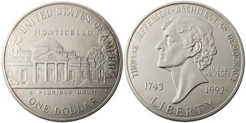 1 доллар 1990 P США — 250 лет со дня рождения Томаса Джефферсона — серебро