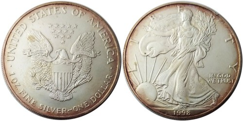 1 доллар 1998 США — Американский серебряный орёл — серебро