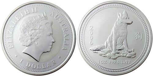 1 доллар 2006 Австралия — Восточный календарь — Год Собаки — Немецкая Овчарка — серебро