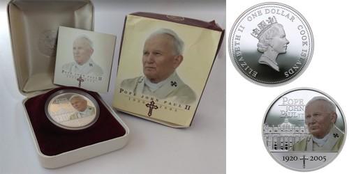 1 доллар 2005 Острова Кука — 85 лет со дня рождения Папы Римского Иоанна Павла II — серебро