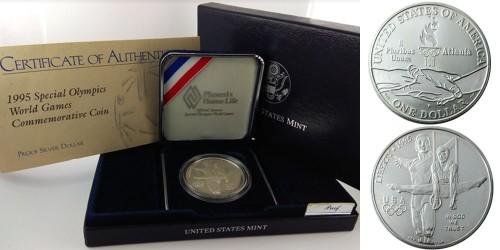1 доллар 1995 P США — XXVI летние Олимпийские Игры, Атланта 1996 — Гимнастика — серебро Proof