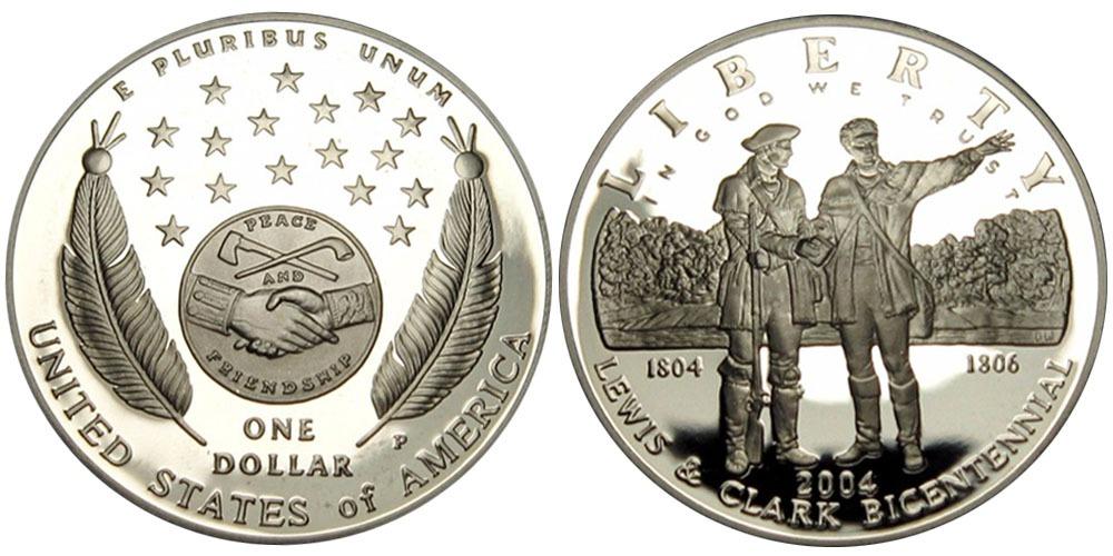 1 доллар 2004 P США — 200 лет экспедиции Льюиса и Кларка — серебро Proof