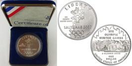 1 доллар 2002 P США — XIX зимние Олимпийские Игры, Солт-Лейк-Сити 2002 — серебро Proof