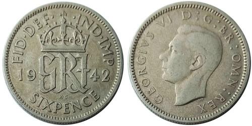 6 пенсов 1942 Великобритания — серебро