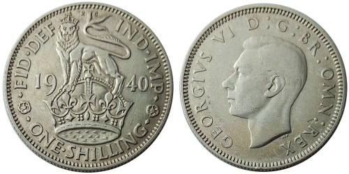 1 шиллинг 1940 Великобритания — Английский шиллинг — лев стоящий на короне — серебро