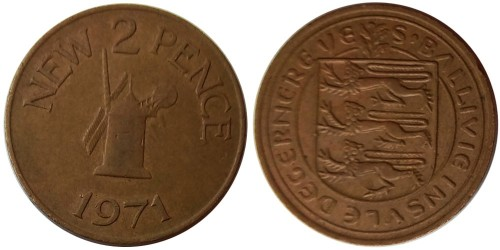 2 новых пенса 1971 остров Гернси