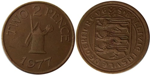 2 пенса 1977 остров Гернси