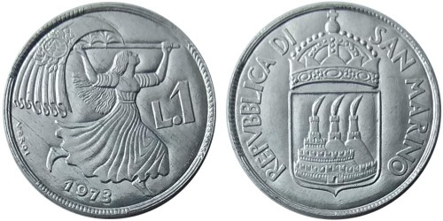 1 лира 1973 Сан-Марино UNC