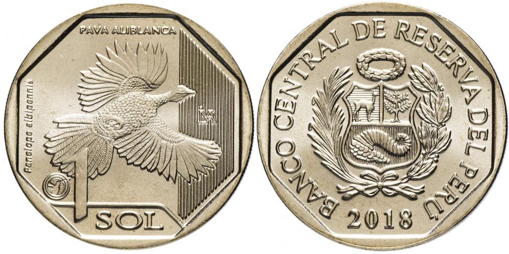 1 соль 2018 Перу — Фауна Перу — Белокрылый гуан UNC