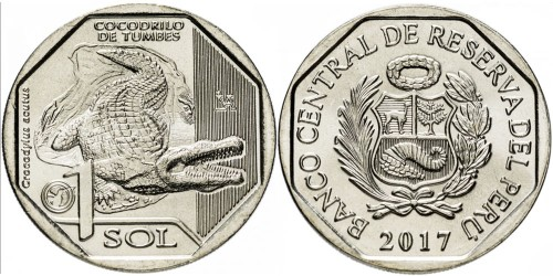 1 соль 2017 Перу — Фауна Перу — Острорылый крокодил UNC