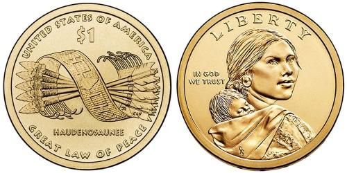 1 доллар 2010 P США UNC — Коренные Американцы — Пояс Гайавата