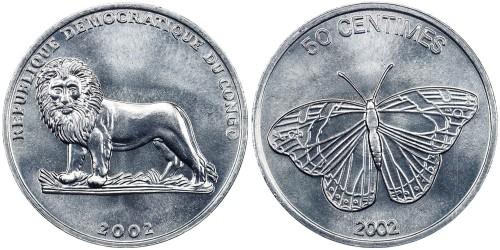 50 сантимов 2002 Конго — Бабочка