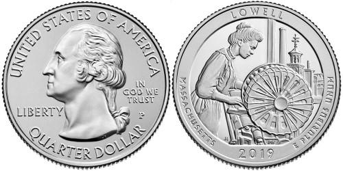 25 центов 2019 P США — Национальный исторический парк Лоуэлл UNC