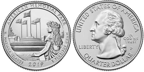 25 центов 2019 P США — Американский Мемориальный Парк — American Memorial Park UNC