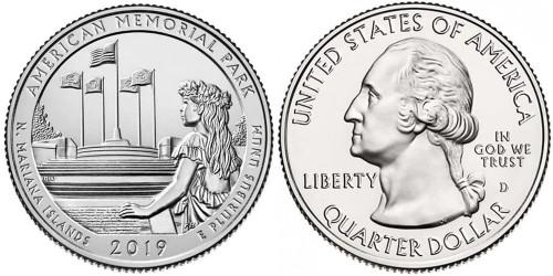 25 центов 2019 D США — Американский Мемориальный Парк UNC