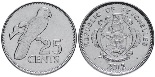25 центов 2012 Сейшельские острова UNC