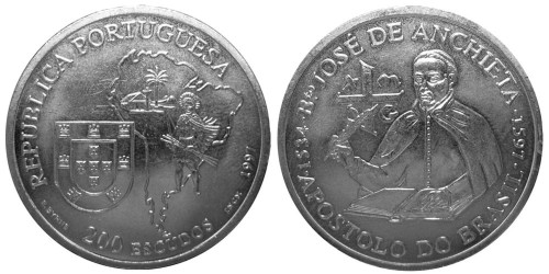 200 эскудо 1997 Португалия — 400 лет со дня смерти Хосе де Анчьета