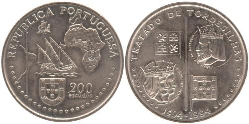 200 эскудо 1994 Португалия — 500 лет с момента заключения Тордесильясского договора