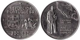 200 эскудо 1992 Португалия — 450 лет открытию Калифорнии