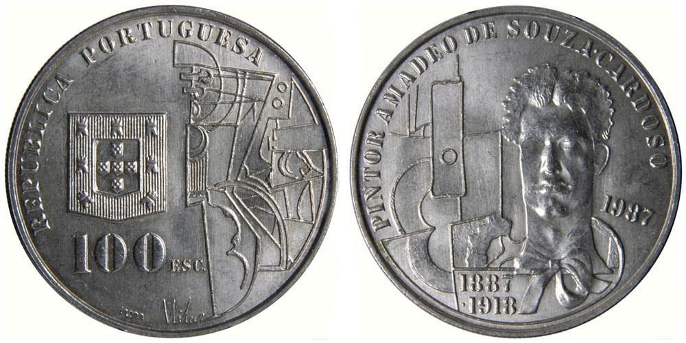 100 эскудо 1987 Португалия — 100 лет со дня рождения Амадеу ди Соуза-Кардозу