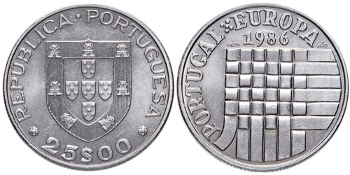 25 эскудо 1986 Португалия — Вступление в зону свободной торговли Европы