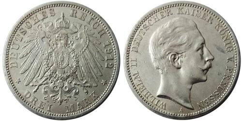 3 марки 1912 «А» Германская империя — Пруссия — серебро