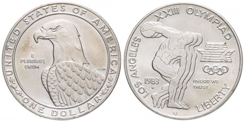 1 доллар 1983 D США — XXIII летние Олимпийские Игры — Дискобол — серебро
