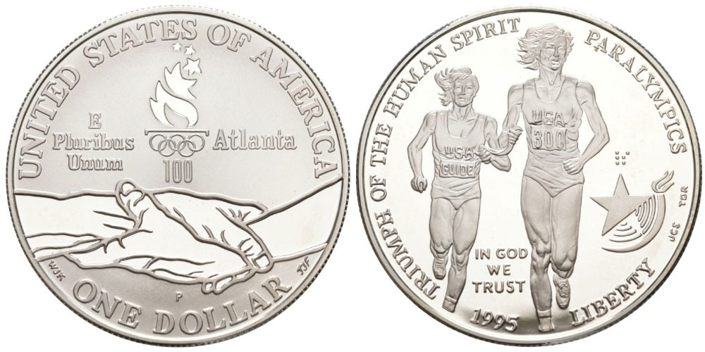 1 доллар 1995 P США — X летние Паралимпийские Игры, Атланта 1996 — Бег — серебро №1