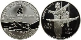 1 доллар 1995 P США — XXVI летние Олимпийские Игры, Атланта 1996 — Гимнастика — серебро №1