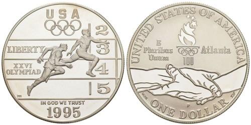 1 доллар 1995 P США — XXVI летние Олимпийские Игры, Атланта 1996 — Бег — серебро
